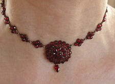 Stunning Antique Victorian Bohemian Garnet Choker Drop Necklace c1885