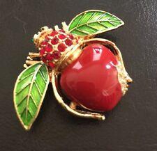 Joan Rivers Red Apple Bee Pin