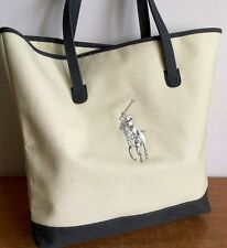 Polo Ralph Lauren Tote Large Canvas Handbag Fragrances White With Gray Pony