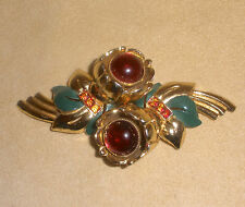 1930's Red Floral w/ Green Enamel Fur Clips or Duette without Holder by Coro