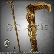 FOREST FAIRY SEXY NUDE GIRL HANDCARVED CRAFTED SOLID WOOD WALKING STICK CANE L