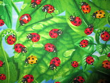 LADY BUG LADYBUGS LEAVES GARDEN RED GREEN COTTON FABRIC FQ