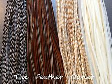 Lot 25 Grizzly Feathers Hair Extensions saddle Long Real Natural Browns NAT NB