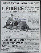 PUBLICITE L'EDIFICE JOUET JEUX DE CONSTRUCTION CUBES MECCANO DE 1929 FRENCH AD