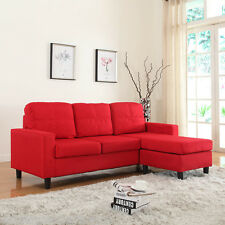 Modern Linen Fabric Red Sectional Sofa Small Space Configurable Couch