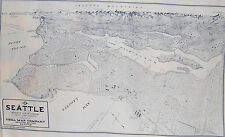 "Birdseye View Seattle Map Fabric Exclusive Kroll Map 1925 1 Map Panel 36"" x 22"""