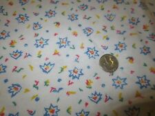 "1578. MULTI-COLOR PRINT ON WHITE Craft COTTON FLANNEL FABRIC - 43"" x 2 5/8 Yds."