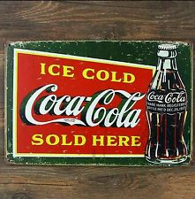 "Coca Cola Coke large metal sign 12""x8"" vintage retro home bar mancave sign"
