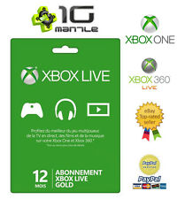 Carte Abonnement Xbox 360 & ONE Live 12 mois GOLD France & Europe