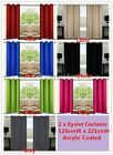 1Pair Coated Blockout Eyelet Curtain Black Latte Blue Green Grey Pink Red