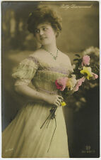 c 1910 Pretty Young Lady FASHION BEAUTY Glamor tinted photo postcard