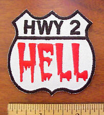 """US ROUTE Highway 2 To HELL Dripping Blood Shield 2 1/2"""" x 2 1/2"""" Iron-On Patch"""