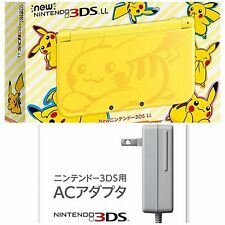 New Nintendo 3DS LL XL Console Pokemon Pikachu Yellow Ver AC Adapter from Japan.