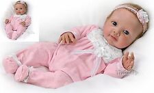 Adorable Addison weighted poseable Baby Doll with rooted hair by Ashton Drake