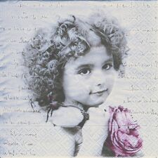 4 Servietten Napkins Nostalgie - Mädchen - French Girl - Foto - Kind - ki033
