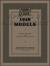 1928 Buick Special Features and Detailed Specifications Manual