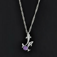 Fashion Silver plated Double Dolphin Rhinestone Chain Pendant Necklace Jewelry