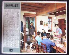 CALENDRIER ALMANACH des PTT de 1957 CHASSEUR CHIENS  REPAS FAMILLE / PECHEUR
