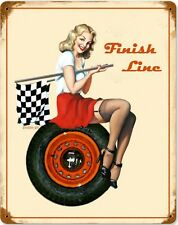 Finish Line Pin Up rusted metal sign     (pst)