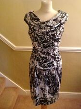 STUNNING CALVIN KLEIN BLACK, GREY WHITE & SILVER EVENING DRESS UK SIZE 6 WORN