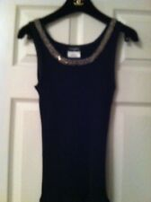 Chanel NEW 10P Black Cotton Top with Tweed and Gold Chain & Gold CC logo FR36-38