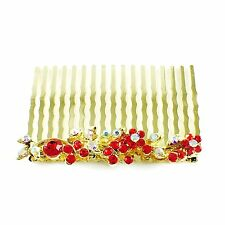 Hair Comb Austrian Rhinestone Crystal  Hairpin Bridal Wedding Gold Red 1-13