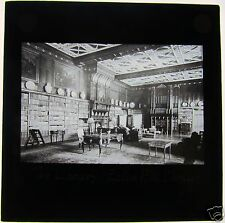 Glass Magic Lantern Slide THE LIBRARY EATON HALL CHESTER C1900