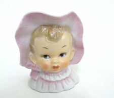 Vintage Lady Head Vase Sweet Baby Girl in Wavy Pink Bonnet JAPAN Uoagcochina