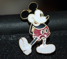 VINTAGE DISNEY MICKEY MOUSE BLACK BUTTONS HANDS BEHIND HINGE BACK PIN 1 1/4""