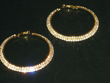(6140-11) big hoops 2 row diamante earrings gold