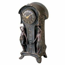 KY8022 - Dual Maiden Art Nouveau Mantelpiece Clock - Verdigris Bronze Finish!