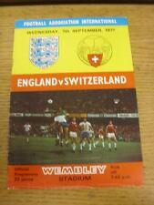 07/09/1977 England v Switzerland [At Wembley] (Creased, Team Changes). Item in v