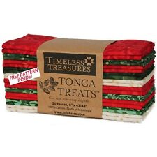 Timeless Treasures Tonga Treats Jingle 20 Strips Six Inch Batik Christmas Bundle