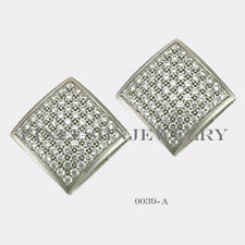 Sterling Silver 925 Square Stud Screwback Earrings with Clear CZ (10mm) #0039A