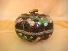 CLOISONNE TRINKET TREASURE BOX JAR COVERED PUMPKIN SHAPE HANDLE BLACK RED PINK