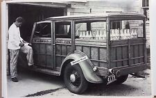 """12 By 18"""" Black & White Picture 1934 Ford Woody Wagon Wildwood Dairy Farm Milk"""