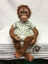 """Lifelike REAL TOUCH BABY PONGO Orangutan SIMON LAURENS Doll 16"""" Ashton-Drake"""