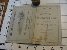vintage paper: 1876 EXCELSIOR Wood Sawing Machine price list William McClelland