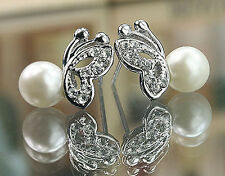 New Women Silver Plated Rhinestone Pearl Butterfly Earrings Ear Stud Wholesale