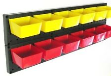 10 NEW Red Parts Storage Bins - Hooks to Peg Tool Board - Workbench Pegboard