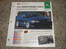 USA 1984-1998 Saleen Ford Mustang S351 Hot Cars Group 4 # 6 Spec Sheet Brochure