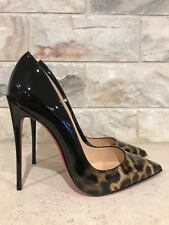 NIB Christian Louboutin So Kate 120 Black Leopard Patent Degrade Pump Heel 38.5