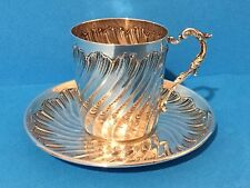 French 950 Silver Cup and Saucer by Armand Gross c1895