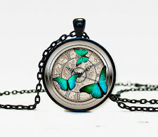 New Butterfly Charm Glass Dome Cabochon Black Chain Necklace Pendant
