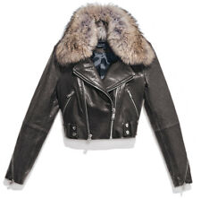 Andrew Marc Beth Moto Charcoal Lambskin Leather Jacket Coyote Fur Collar M $1195
