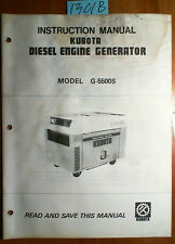 Kubota G-5500S Diesel Engine Generator Instruction Manual 87687-89112