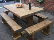 Solid wood rustic large garden /patio/ dining table & benches, Mid Oak effect.