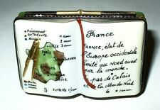 LIMOGES BOX - GEOGRAPHY BOOK OF FRANCE & COMPASS - EIFFEL TOWER INSIDE - GR