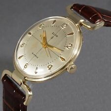 Rare Vintage Elgin Solid 10K Yellow Gold Man's Extended Flexible Lug Wrist Watch