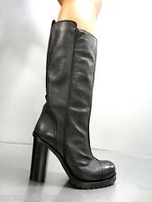 MORI MADE IN ITALY KNEE HIGH BOOTS STIEFEL STIVALI BIKER LEATHER BLACK NERO 40
